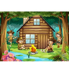 Boys and girls camping out in the woods vector image vector image