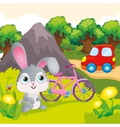 Bunny With Bicycle Near Mountain vector image vector image