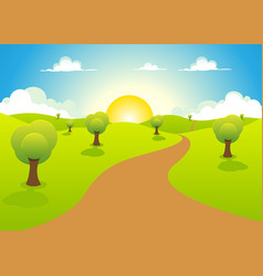 cartoon spring or summer landscape vector image vector image