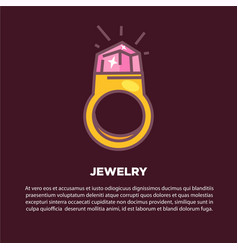 Jewelry cartoon poster with gold ring and vector