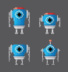 pixel style robot set vector image