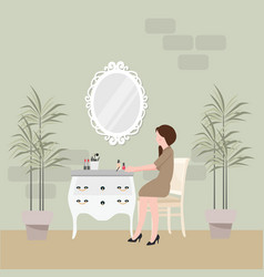 girl sitting in chair for make-up with table and vector image vector image