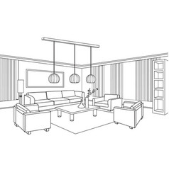 living room view interior outline sketch vector image vector image
