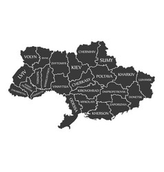 ukraine-map-with-labels-black vector image vector image
