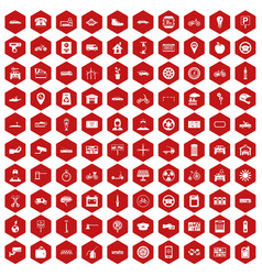 100 parking icons hexagon red vector