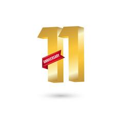 11 year anniversary template design vector