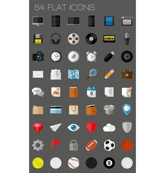 54 flat icons and pictograms set vector image