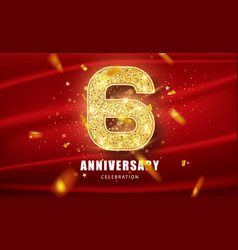 6 golden glitter numbers and anniversary vector