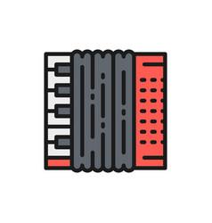 accordion bayan flat color line icon vector image