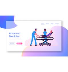 Advanced medicine website landing page ambulance vector