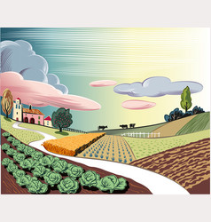 Agricultural landscape with cows vector