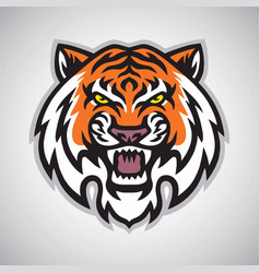 Angry tiger head logo mascot vector