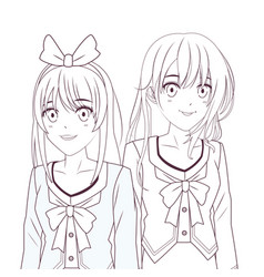Anime manga girls vector