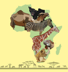 background with continent of africa vector image
