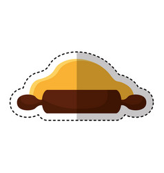 Baked roll wooden utencil vector