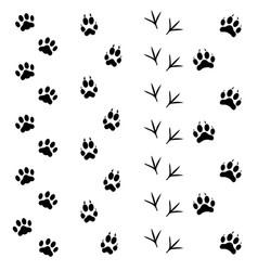 Black animal tracks set vector
