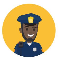 Black police officer with radio set on shoulder vector