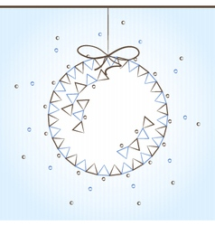 Blue and brown Christmas ball vector