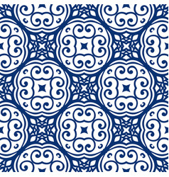 Blue arabesque pattern vector