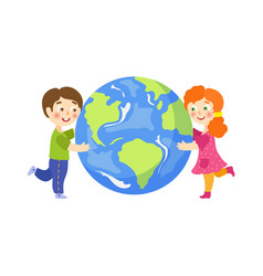 boy girl hug earth planet flat character vector image