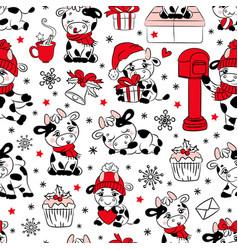 bull christmas 2021 white seamless pattern vector image