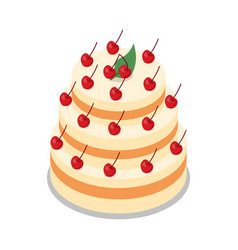 Cake in three tiers decorated with many cherries vector