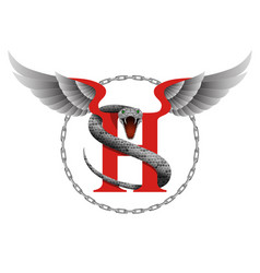 capital letter h with snake and wings for vector image