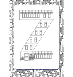 Cartoon letter z drawn in the shape of house vector