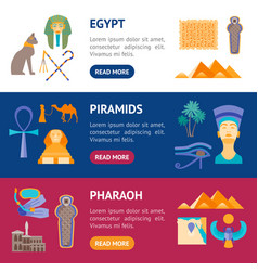 cartoon symbol of egypt banner horizontal set vector image