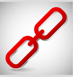 chain link icon single red chain link isolated on vector image