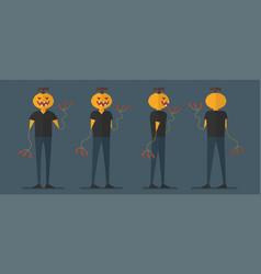 character design of pumpkin man for halloween day vector image