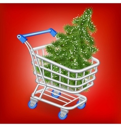 Christmas tree in a shopping cart vector image