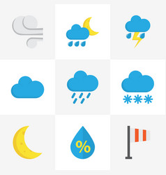 Climate flat icons set collection of shower drop vector