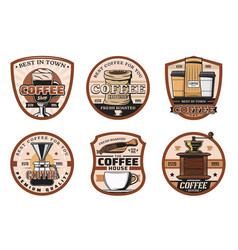 coffee shop cups and beans icons vector image