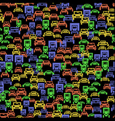 Colored car silhouette seamless pattern vector