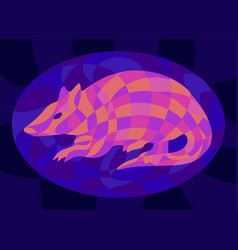Colorful art with shiny neon colored armadillo vector