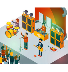 concert scene isometric rock band singing people vector image
