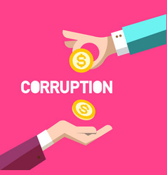 Corruption symbol flat design with two hands and vector