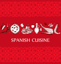 Dark template with spanish food in hand-drawn vector