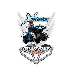 Extreme quad bike logo isolated background vector