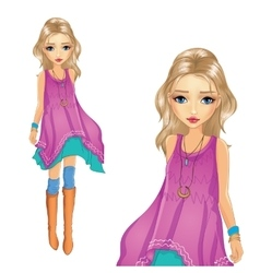 Fashion Girl In Tunic Goes vector image