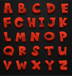 Font design for english alphabets in red vector