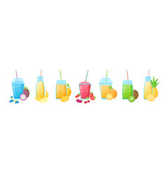 Fruit smoothie shake cocktail isolated set vector