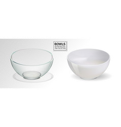 Glass and ceramic bowl set vector