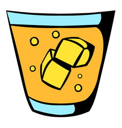 Glass of whiskey and ice icon icon cartoon vector