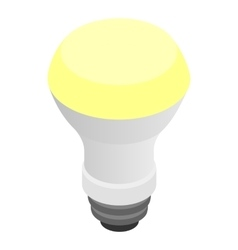 Glowing LED bulb icon isometric 3d style vector