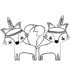 Grunge fox animals couple together with feathers vector