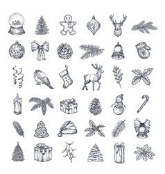 hand drawn christmas icons bundle a collection of vector image