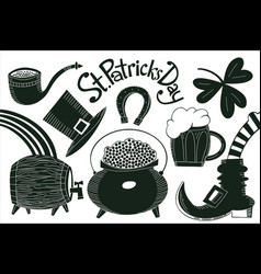 hand drawn st patricks day set leprechaun hat vector image