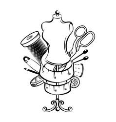 hand sewing symbol set vector image